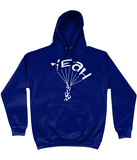 This navy hoodie is soft, smooth and stylish. It is the perfect choice for the cooler evenings, the early morning jump of when you want a bit extra. It has soft cotton faced fabric, double fabric hood with self colour drawstring and front pouch pocket. It has 'YEAH BUDDY' shaped as a skydiver printed on front.