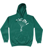 This jade hoodie is soft, smooth and stylish. It is the perfect choice for the cooler evenings, the early morning jump of when you want a bit extra. It has soft cotton faced fabric, double fabric hood with self colour drawstring and front pouch pocket. It has 'YEAH BUDDY' shaped as a skydiver printed on front.