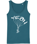 A great womens skydiver tank top in ocean colour with print of 'YEAH BUDDY' formed as a skydiver. It has a fitted style and consists of 100% organic ring-spun combed cotton. It is available in several colours and is a brilliant choice for the warmer days or under a zoodie!