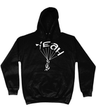 This black hoodie is soft, smooth and stylish. It is the perfect choice for the cooler evenings, the early morning jump of when you want a bit extra. It has soft cotton faced fabric, double fabric hood with self colour drawstring and front pouch pocket. It has 'YEAH BUDDY' shaped as a skydiver printed on front.