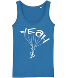 A great womens skydiver tank top in blue with print of 'YEAH BUDDY' formed as a skydiver. It has a fitted style and consists of 100% organic ring-spun combed cotton. It is available in several colours and is a brilliant choice for the warmer days or under a zoodie!
