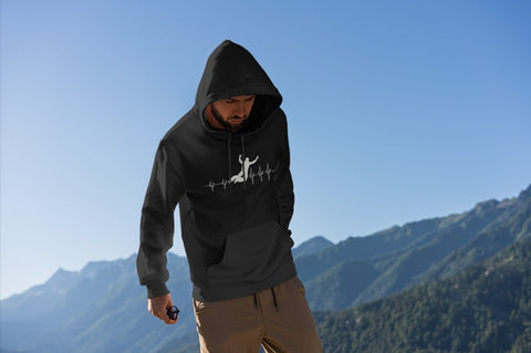 This black hoodie is soft, smooth and stylish. It is the perfect choice for the cooler evenings, the early morning jump of when you want a bit extra. It has soft cotton faced fabric, double fabric hood with self colour drawstring and front pouch pocket. a heartbeat and basejumper printed on the front.