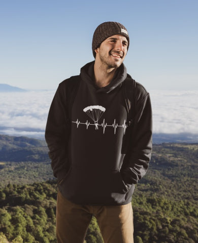 This black hoodie with white heartbeat and skydiver is soft, smooth and stylish. It is the perfect choice for the cooler evenings, the early morning jump of when you want a bit extra. It has soft cotton faced fabric, double fabric hood with self colour drawstring and front pouch pocket. a heartbeat and skydiver printed on the front.