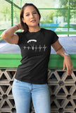 This black unisex t-shirt with white print is everything you have dreamed of and more. It feels soft and lightweight with the right amount of stretch. It is comfortable and flattering for both men and women and with heartbeat with a skydiver print on the front. Available in several colours.