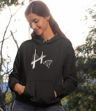 This black hoodie is soft, smooth and stylish. It is the perfect choice for the cooler evenings, the early morning jump of when you want a bit extra. It has soft cotton faced fabric, double fabric hood with self colour drawstring and front pouch pocket. It has a bridge and 'SEND IT' shaped as a skydiver printed on front.