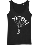 A great womens skydiver tank top in black with print of 'YEAH BUDDY' formed as a skydiver. It has a fitted style and consists of 100% organic ring-spun combed cotton. It is available in several colours and is a brilliant choice for the warmer days or under a zoodie!