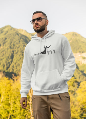 This white hoodie is soft, smooth and stylish. It is the perfect choice for the cooler evenings, the early morning jump of when you want a bit extra. It has soft cotton faced fabric, double fabric hood with self colour drawstring and front pouch pocket. a heartbeat and basejumper printed on the front.