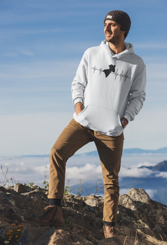 This white hoodie is soft, smooth and stylish. It is the perfect choice for the cooler evenings, the early morning jump of when you want a bit extra. It has soft cotton faced fabric, double fabric hood with self colour drawstring and front pouch pocket. a heartbeat and wingsuit jumper printed on the front.