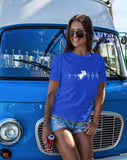 This unisex t-shirt in blue is everything you have dreamed of and more. It feels soft and lightweight with the right amount of stretch. It is comfortable and flattering for both men and women and with heartbeat with a wingsuit jumper print on the front. Available in several colours.