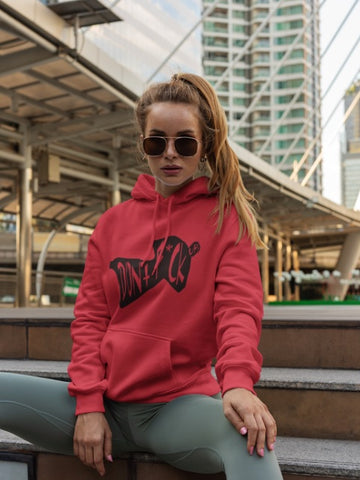 This red with black print hoodie is soft, smooth and stylish. It is the perfect choice for the cooler evenings, the early morning jump of when you want a bit extra. It has soft cotton faced fabric, double fabric hood with self colour drawstring and front pouch pocket. It comes in several different colours with different coloured prints.