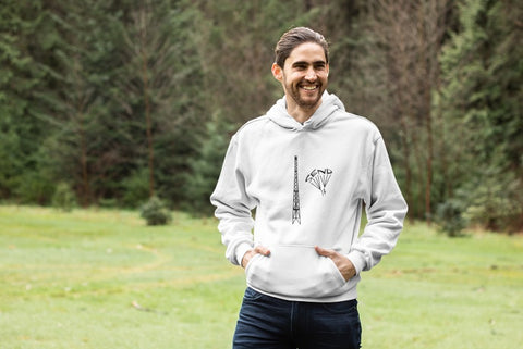 This white hoodie is soft, smooth and stylish. It is the perfect choice for the cooler evenings, the early morning jump of when you want a bit extra. It has soft cotton faced fabric, double fabric hood with self colour drawstring and front pouch pocket. It has an antenna and 'send it' shaped as a parachute printed on front.