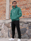 This jade hoodie is soft, smooth and stylish. It is the perfect choice for the cooler evenings, the early morning jump of when you want a bit extra. It has soft cotton faced fabric, double fabric hood with self colour drawstring and front pouch pocket. It has an antenna and 'send it' shaped as a parachute printed on front.