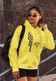 This yellow hoodie is soft, smooth and stylish. It is the perfect choice for the cooler evenings, the early morning jump of when you want a bit extra. It has soft cotton faced fabric, double fabric hood with self colour drawstring and front pouch pocket. It has a building and 'send it' shaped as a parachute printed on front.