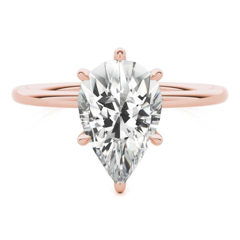 rose gold pear shape man-made diamond ring
