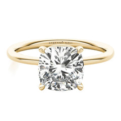 cushion cut diamond ring with lab created diamond in yellow gold
