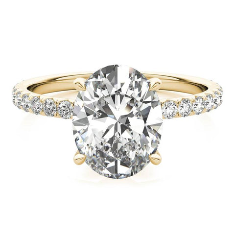 18k yellow gold oval cut lab-created diamond ring