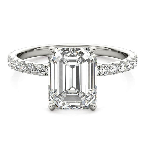 lab-created emerald cut diamond ring
