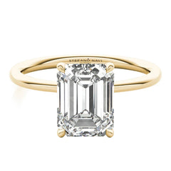 lab grown emerald cut diamond engagement ring in 14k yellow gold