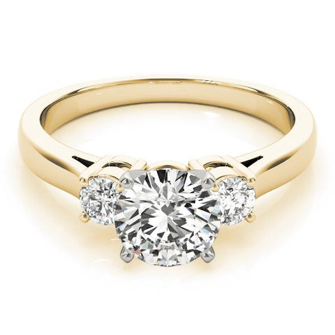 3 Stone Lab created diamond engagement ring 14k yellow gold