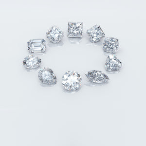 Picture on ideal cut lab grown diamonds in different shapes.