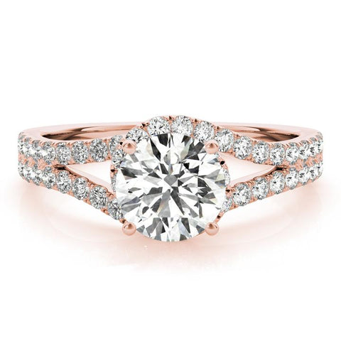 Halo lab created diamond engagement ring rose gold