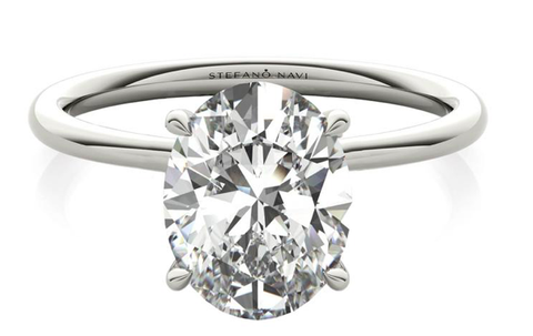 engagement ring in white gold with lab created diamond