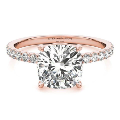 cushion cut rose gold lab-created diamond ring