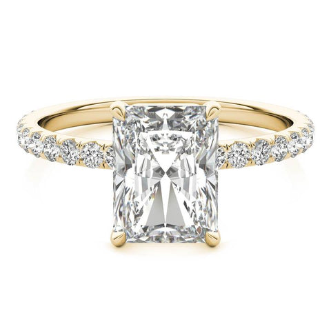 radiant cut 14k diamond ring set with lab-created diamond
