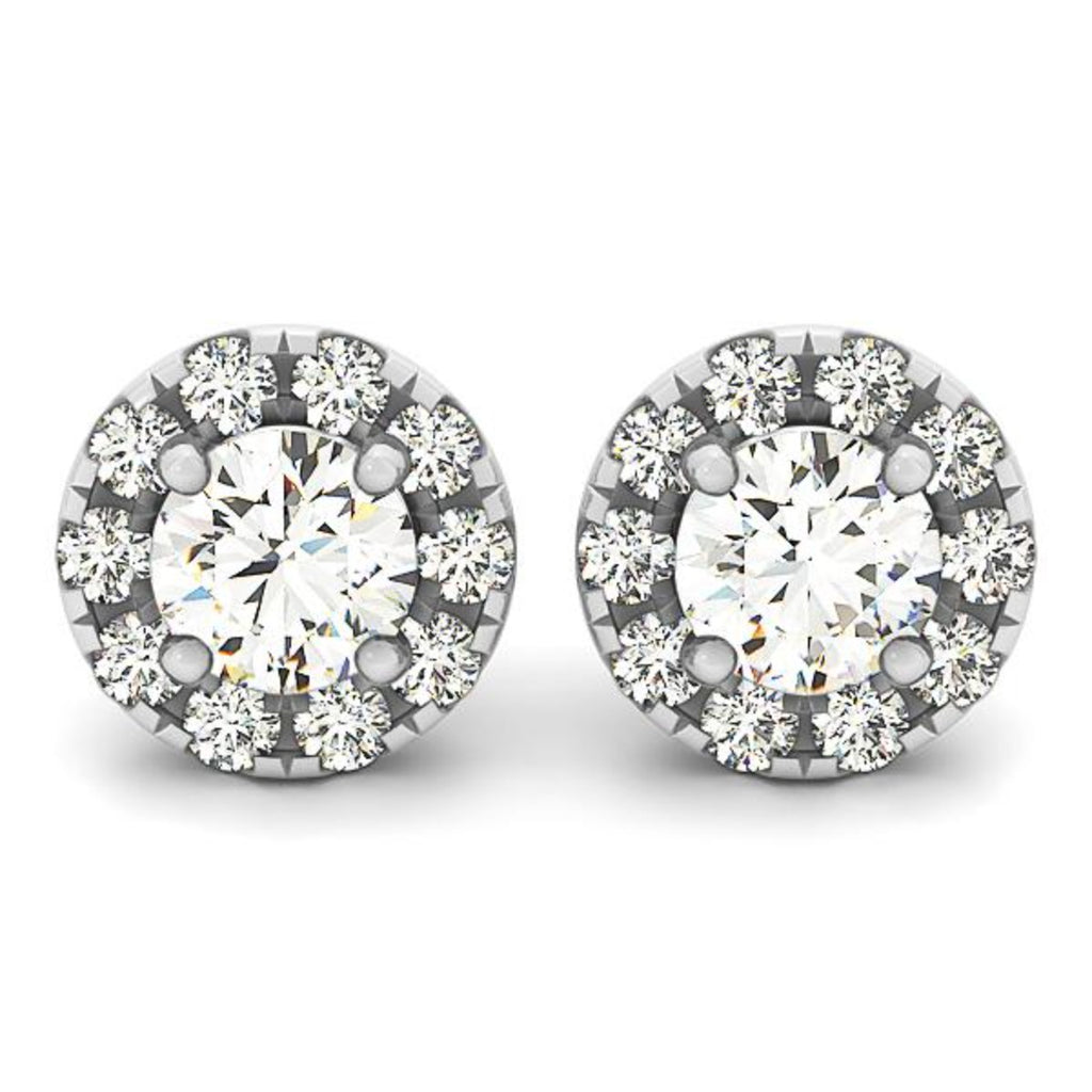 Four-Prong Round Halo Lab Diamond Stud Earrings