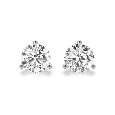martini style lab grown diamonds earrings in white gold
