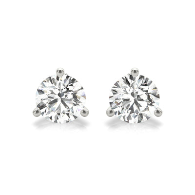 14k Lab created IGI Certified diamond stud three-prong martini earrings white gold