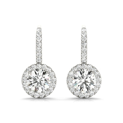 14k lab created diamond four prong halo drop earrings white gold 1.25 carat