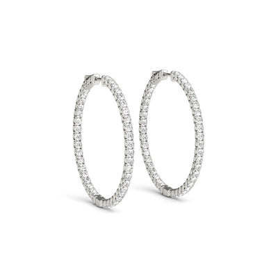 14k lab created diamond hoop earrings white gold 3.25 carat