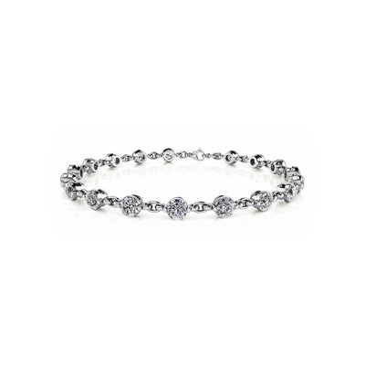 igi certified lab-created link diamond bracelet 14k white gold