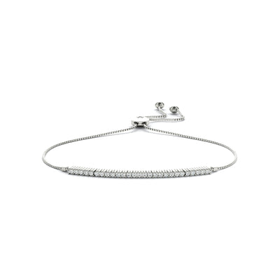 14k igi certified lab-created diamond strand bracelet white gold