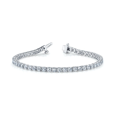 14k IGI Certified lab-grown diamond tennis bracelet in white gold.