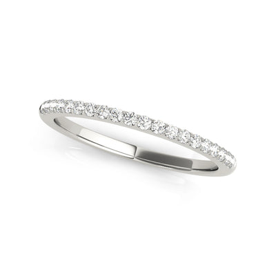 Lab-created matching sustainable diamond wedding band in platinum