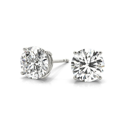 14k Lab grown IGI Certified diamond stud four-prong earrings white gold