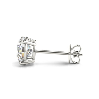 14k Lab grown IGI Certified diamond stud four-prong earrings white gold push back