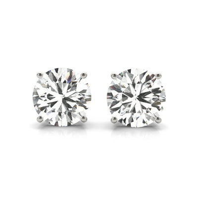 14k Lab created IGI Certified diamond stud four-prong earrings white gold