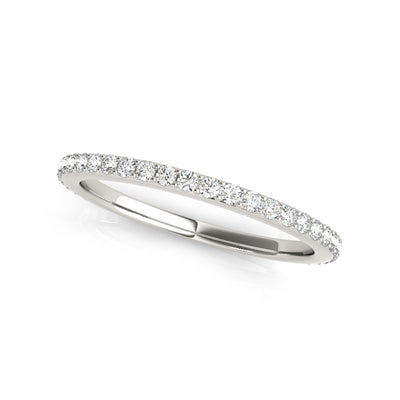 Lab-created matching sustainable diamond wedding band in white gold