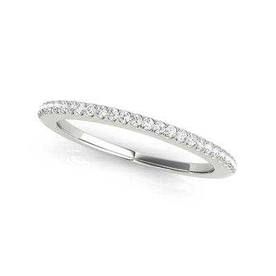 Lab-created matching sustainable diamond wedding ring in white gold