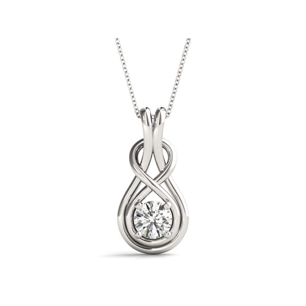 14k white gold love knot lab-grown diamond pendant