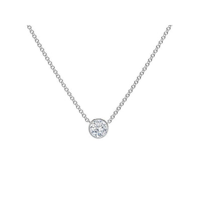 14k white gold Round Bezel lab-created Diamond Pendant