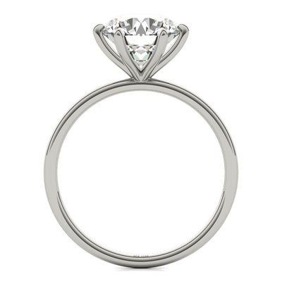 Lab Created Six Prong Diamond Engagement Ring in White Gold