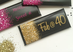 Glittery 50th birthday favors