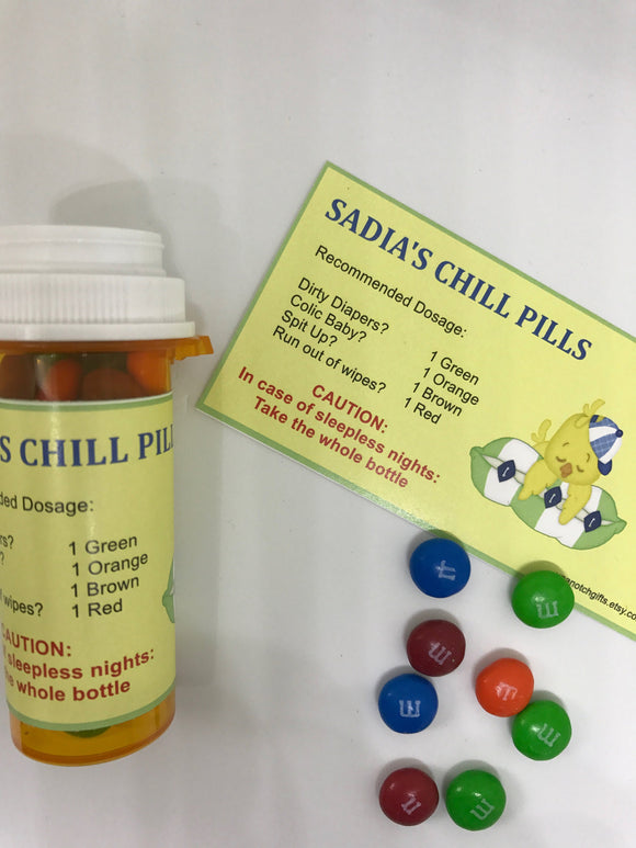 Chill pill, Baby shower labels, personalized baby shower favor, baby shower candy favors, prescription labels, baby shower favours, 12 ct.