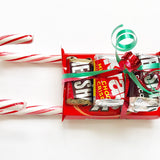 Teachers gift, Candy sleigh, happy holidays, unique christmas gift, sticking stuffer, Kids Christmas stocking, class holiday gifts, 8 ct.