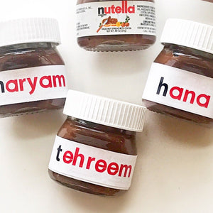 10 Nutella favors, nutella jar, nutella label, bridal shower favors, sweet 16 favors, sweet sixteen party, miss to mrs, Engagement favor