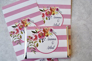 24 floral Kit Kat wrappers, floral wedding favors